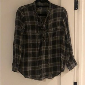 Madewell plaid shirt with lace up detailing